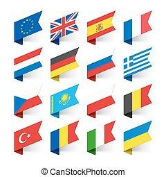 europe, drapeaux, mondiale