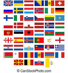 europe, drapeaux, pays