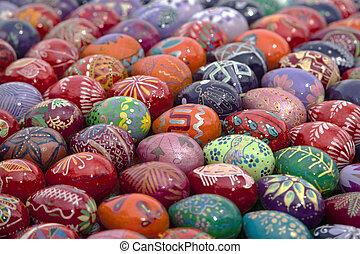 europe, eggs., art, coloré, oriental, fond, paques