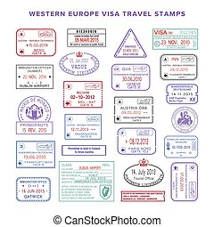 europe, ensemble, couleur, timbres, vecteur, occidental, voyage, visa