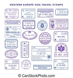 europe, ensemble, voyage, timbres, vecteur, occidental,...