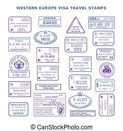 europe, ensemble, voyage, timbres, vecteur, occidental, visa, commun