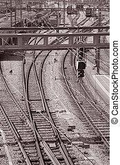 europe, entrée, tonalité, sépia, noir, station, suisse, ferroviaire, berne, blanc