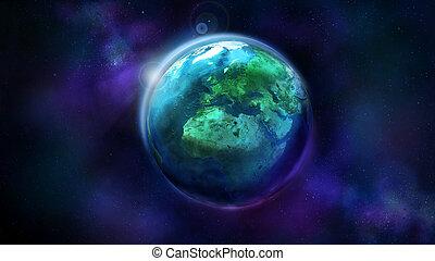 europe, espace, projection, afrique, moitié, jour terre, asia.