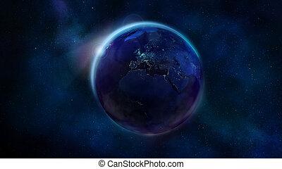 europe, espace, projection, moitié, afrique, nuit, la terre, asia.