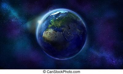 europe, espace, projection, réaliste, afrique, la terre, asia.