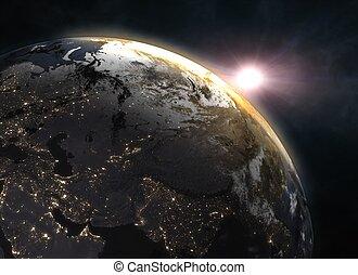 europe, espace, -, terre planète, levers de soleil