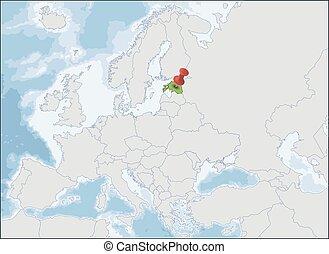 europe, estonie, emplacement, carte, république