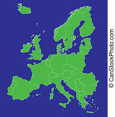Europe EU map with country borders - A map of Europe EU with...