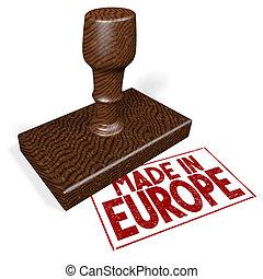 europe, fait, timbre, -, caoutchouc, 3d