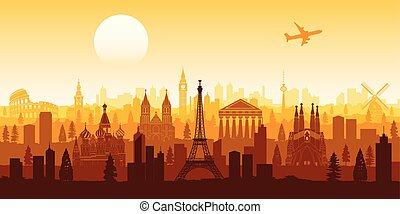 Europe famous landmark silhouette style with row design on sunset time