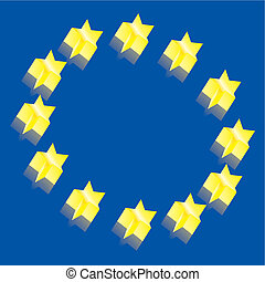 Europe flag 3D vector illustration