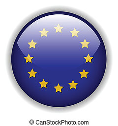 Europe flag button, vector - Europe EU flag button, vector