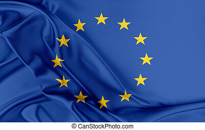 Europe Flag. Flag with a beautiful glossy silk texture.