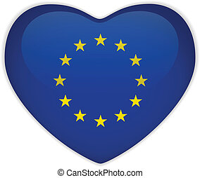 Europe Flag Heart Glossy Button - Vector - Europe Flag Heart...