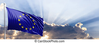Europe flag on blue sky. 3d illustration - EU waving flag on...