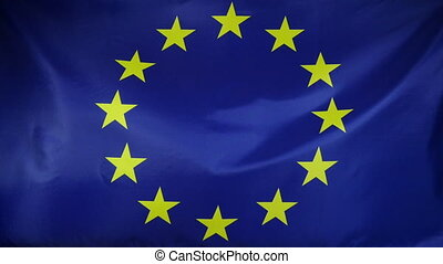 Europe Flag real fabric close up