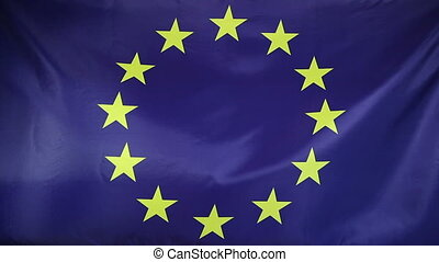 Europe Flag real fabric close up - Textile flag of Europe...