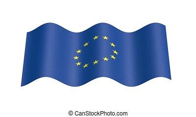 Europe flag wavy, 3d animation loop