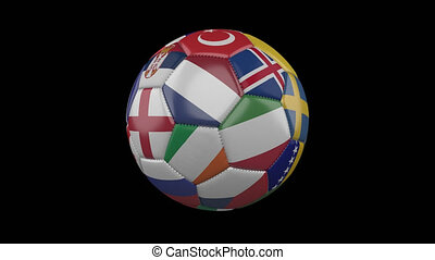 Europe flags on soccer ball rotating on transparent, 4k footage with alpha, loop 2