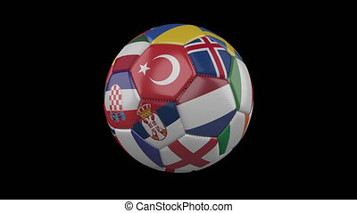 Europe flags on soccer ball rotating on transparent, 4k footage with alpha, loop 3