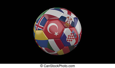 Europe flags on soccer ball rotating on transparent, 4k footage with alpha, loop 4