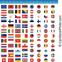 Europe Flags Set - This is a simple, clean and unique set of...