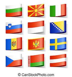 europe., flags., värld