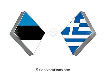 Europe football competition Estonia vs Greece. Vector illustration.