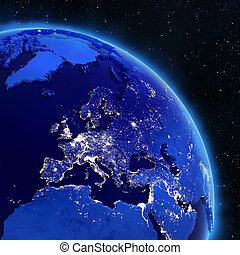 Europe from space. Elements of this image furnished by NASA