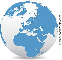Europe Global World - Vector Map Icon of the world in Globe ...