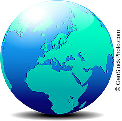 Europe Globe World - All elements are on individual layers ...