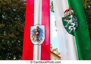 Europe. Graz. Austria. Flag of the first Republic and the city of Graz