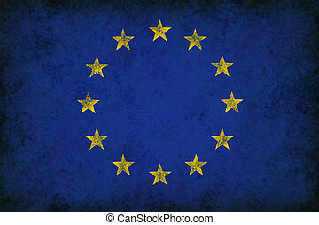 Grunge Great Europe Flag as an old vintage European symbol of unity and English French German Italian culture on an antique textured material for the governments of Greece Germany France and other countries.