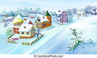Dessin de eve ville hiver nuit petit no l hiver classique csp42234840 recherchez for Dessin ville orientale