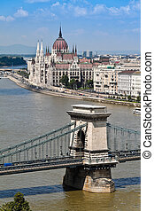 Hungary, Budapest, Cityscape with Parliament - Europe,...