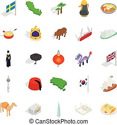 Europe icons set, isometric style
