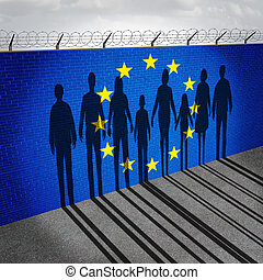 Europe immigration and european refugee crisis concept as people on a border wall with a Eurozone flag as a social issue on refugees or illegal immigrants with the shadow of a group of migrants.