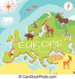 Europe Isometric Map with Flora and Fauna. Vector
