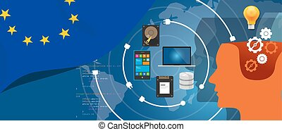 Europe IT information technology digital infrastructure connecting business data via internet network using computer software an electronic innovation