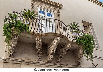 europe, italy, sicily, Ortigia, baroque balcony - europe,...