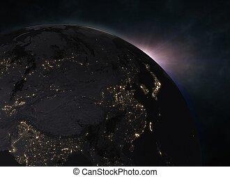 europe, la terre, sur, -, levers de soleil