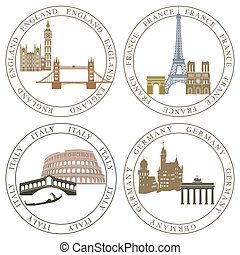 Europe landmarks and main cities