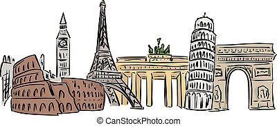 europe, lignes, isolé, illustration, célèbre, vecteur, arrière-plan noir, repère, blanc