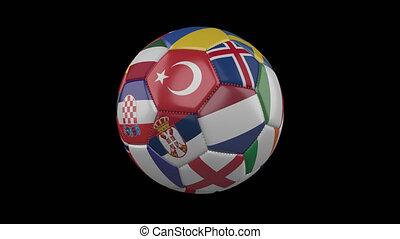 europe, métrage, alpha, drapeaux, balle, tourner, boucle, transparent, 4k, 3, football