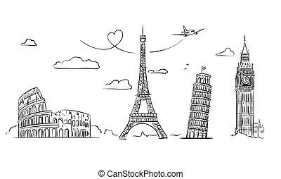 europe., main, dessiné, vues