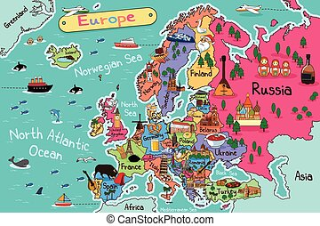 Europe Map - A vector illustration of Europe map in cartoon...