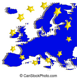 europe map and flag