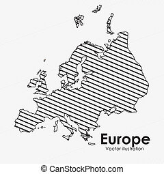 europe map over white background vector illustration