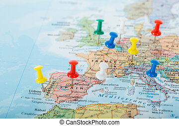 World map witha flag pin for every country blank vector map and europe map pins travel for your planning trip gumiabroncs